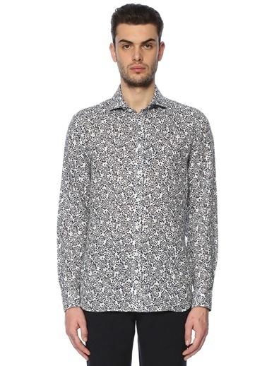 %100 Keten Desenli Uzun Kollu Gömlek-Beymen Collection